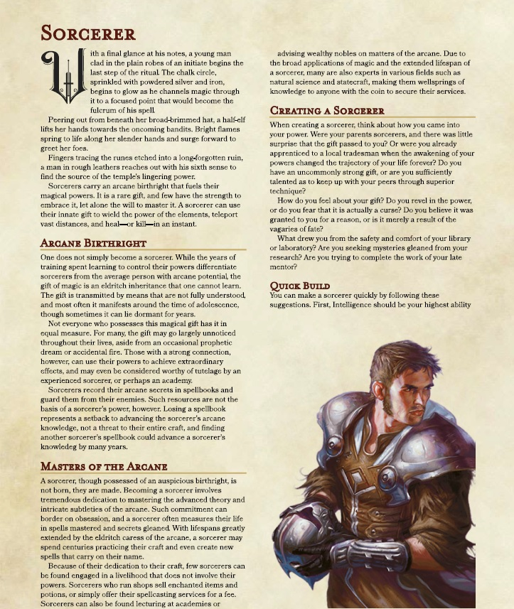 Sorcerer 5e (5th Edition) Class for Dungeons and Dragons (D&D)